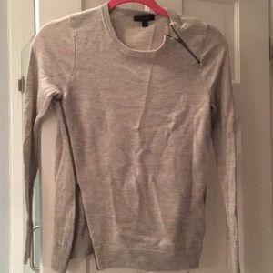 grey j crew zip up sweater